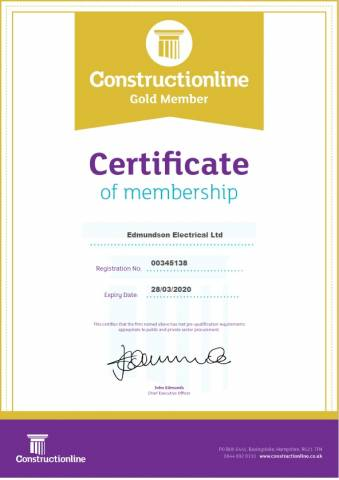 Constructionline Gold certificate Oct 2019